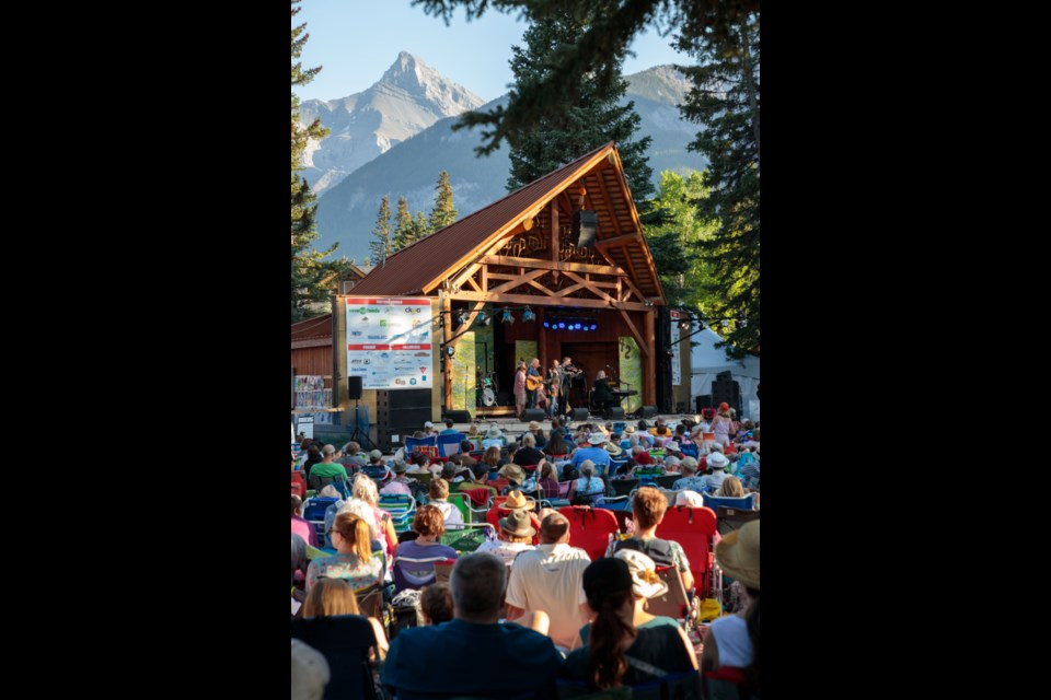 Connie Kaldor and band perform on the Stan Rogers Memorial Stage, at the Canmore Folk Music Festival, Sunday (Aug. 4). Craig Douce banffcanmorephoto.com