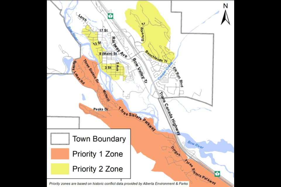 A map of the Town of Canmore's priority zones.  TOWN OF CANMORE PHOTO