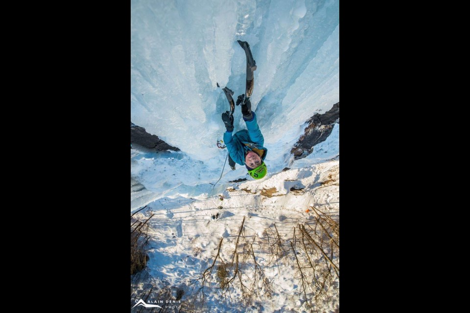 Canmore resident and author Margo Talbot ice climbs in Quebec. 	Alain Denis Photography