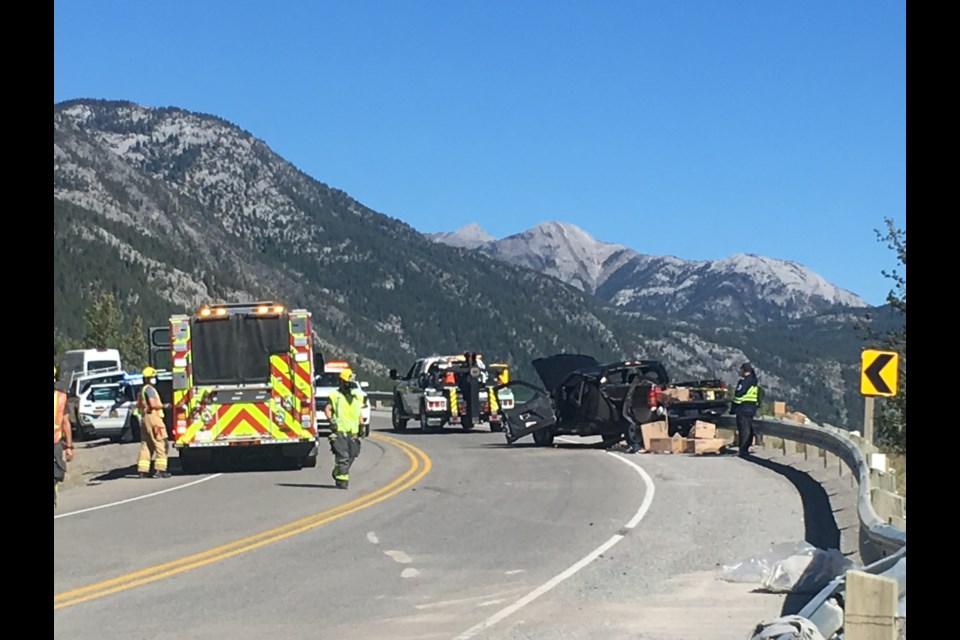 Firefighters on scene of a motor vehicle collision Thursday afternoon (Sept. 10) along the 1A Highway between Canmore and Exshaw. JORDAN SMALL RMO PHOTO