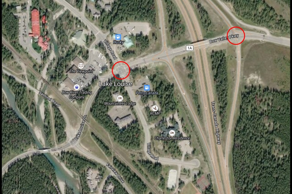 Two sets of traffic lights are being installed for the community of Lake Louise later this year. RMO ILLUSTRATION