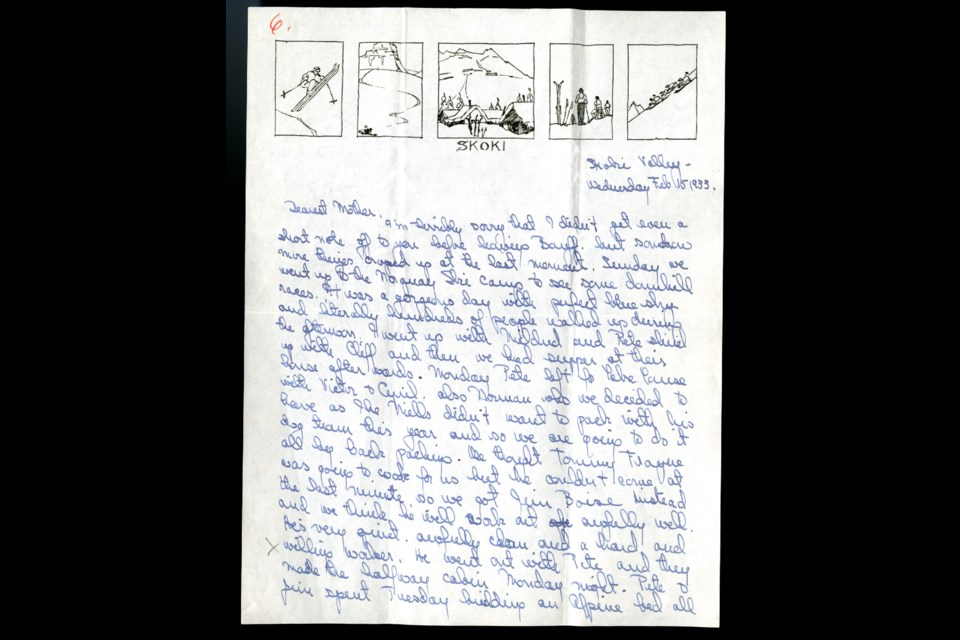 A letter from Catherine Robb Whyte to her mother written on Feb. 15, 1933 from Skoki Valley. Whyte Museum of the Canadian Rockies, Peter and Catharine Whyte fonds (M36/I/A/2B/I/90/7/001)