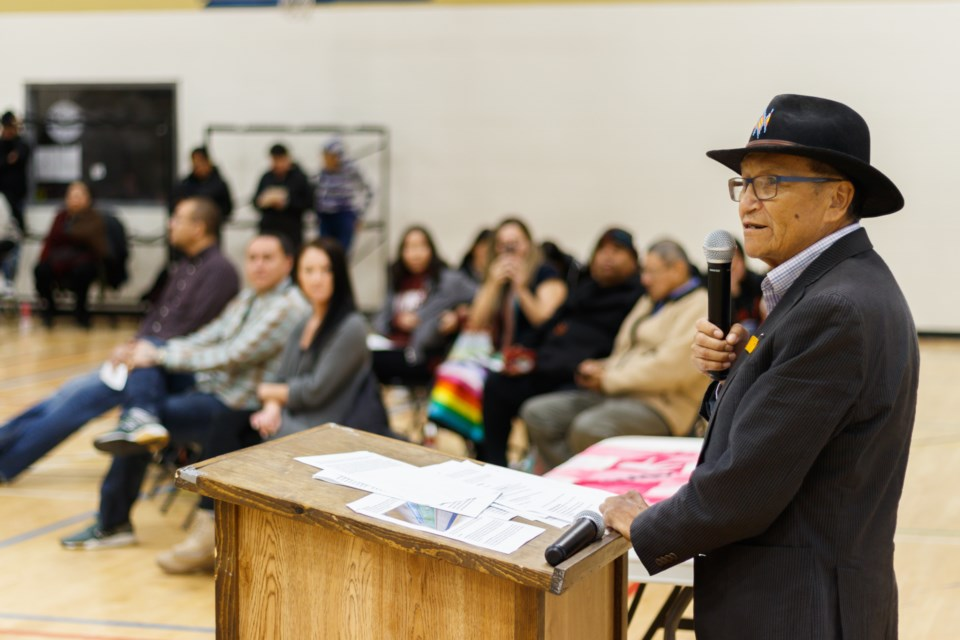 Artist Roland Rollinmud addresses the crowd a mural unveiling at Morley Community School on Thursday, Nov. 7, 2019. CHELSEA KEMP RMO PHOTO