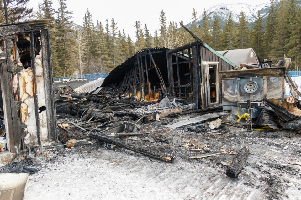 The aftermath of a fire in Exshaw over the weekend has affected several occupants of industrial space that burned down. CHELSEA KEMP RMO PHOTO