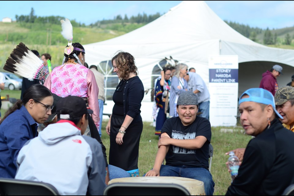 Nation members and guests get together to celebrate the opening of the Stoney Nakoda Parent Link Centre on Aug. 7.