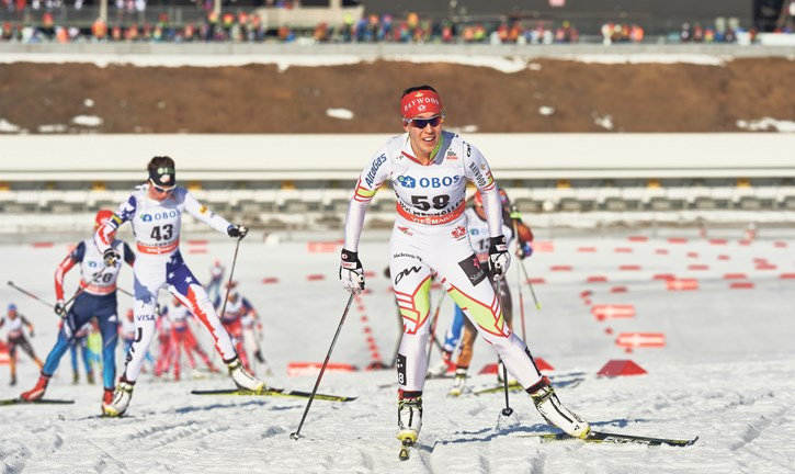 Team Canada cross-country skier Emily Nishikawa races in Oslo, Norway at a past world cup. Nishikawa, and the rest of team Canada, have pulled out of the world cup races in Quebec City this weekend (March 13-15). NORDICFOCUS FILE PHOTO