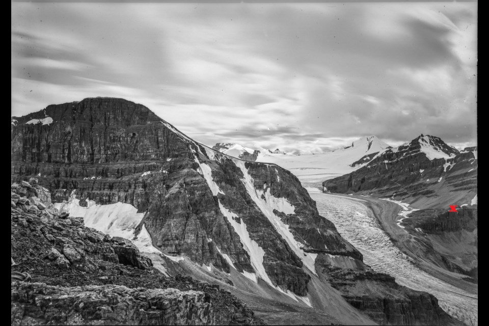 Peyto Glacier, 1903, by A.O. Wheeler, with X marking the spot the 2017 photo was taken from. Image courtesy of the Mountain Legacy Project and Library Archives Canada / Bibliothèque et Archives Canada (ecopy #e011083093)
