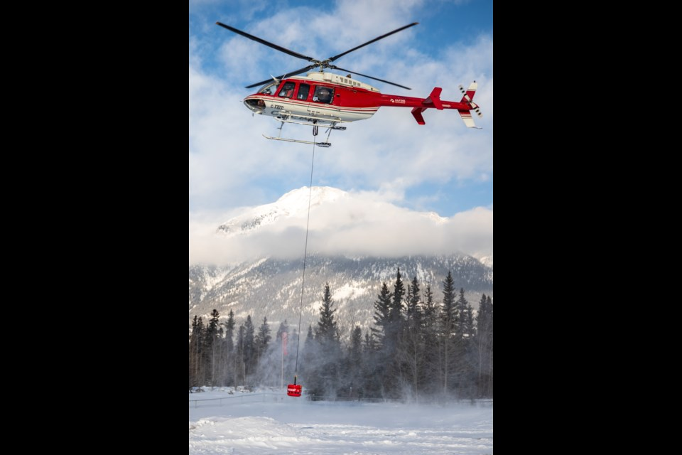 An Alpine Helicopter Inc. helicopter takes off on a training exercise with the newly acquired RECCO machine on Jan. 9. EVAN BUHLER RMO PHOTO