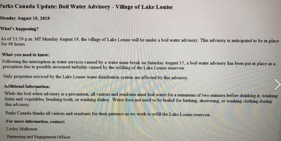 Screen shot of the boil water advisory.