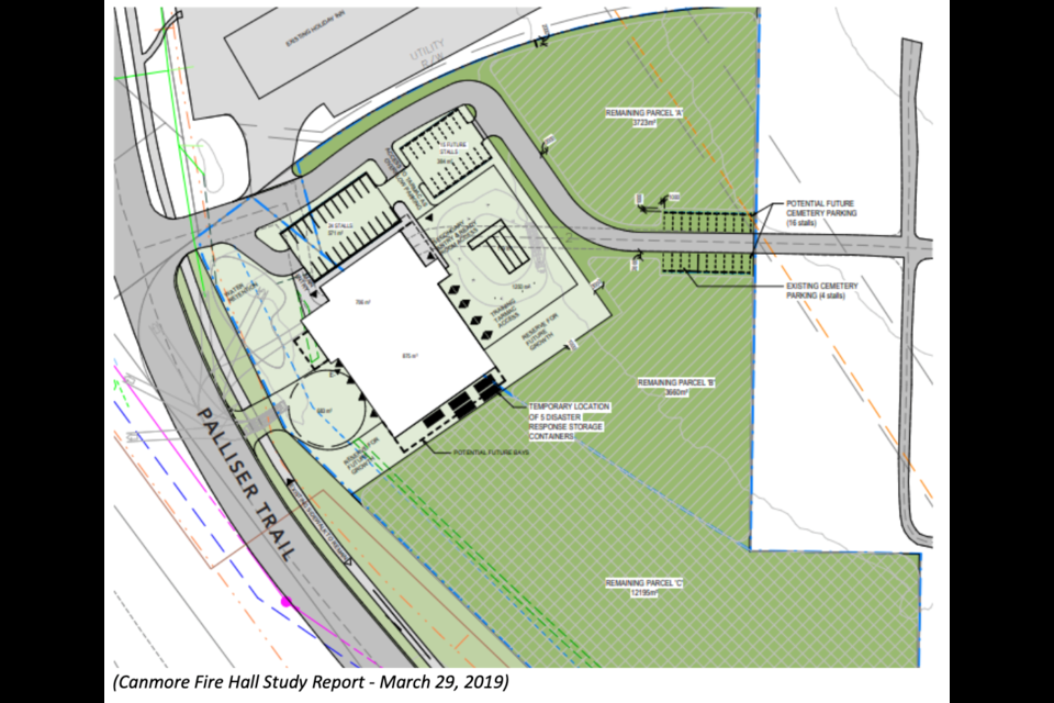 A conceptual site plan for the future eight-bay firehall along Palliser Trail in Canmore. TOWN OF CANMORE IMAGE