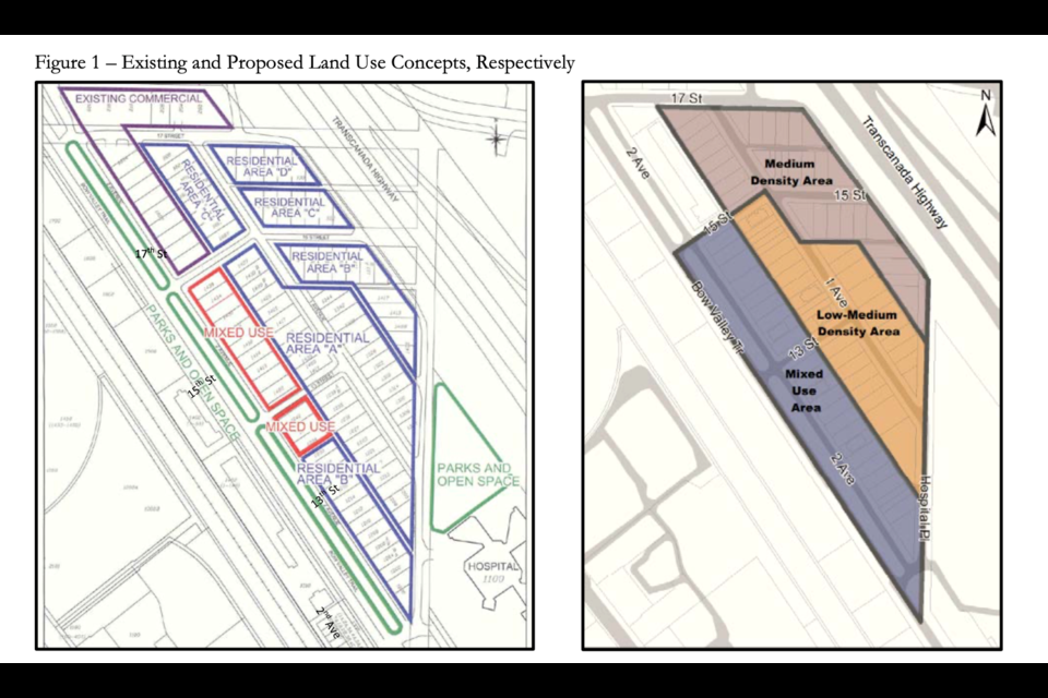 Existing and proposed land use concepts for the Teepee Town area redevelopment plan. RMO PHOTO
