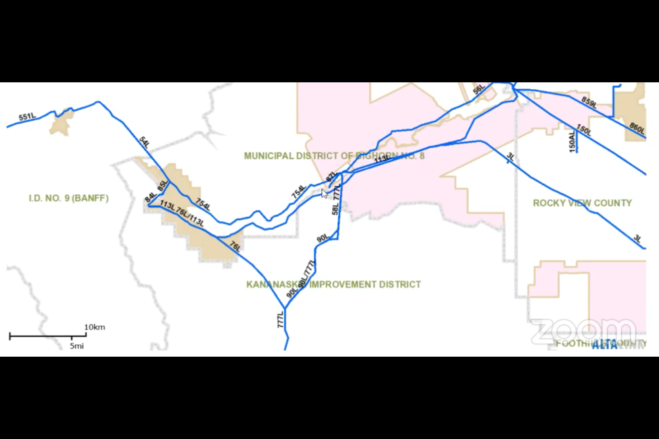 An overview of Altalink's current transmission lines in the Bow Valley area.