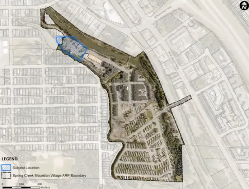 The Spring Creek Mountain Village development area, with the area for two new hotels highlighted in blue.