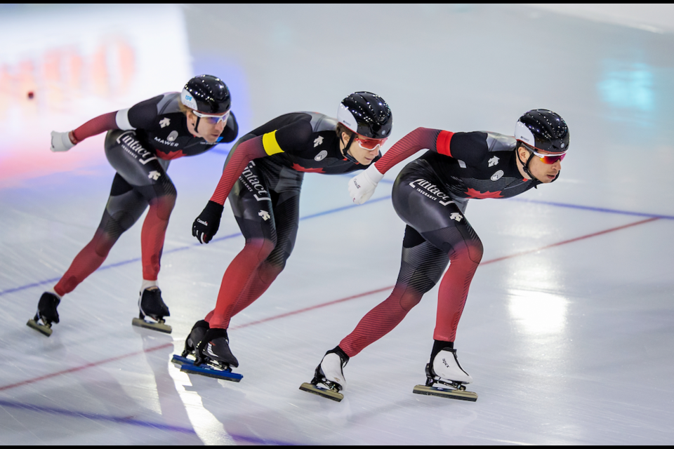 Canada's Connor Howe, Ted-Jan Bloemen and Jordan Belchos in the team pursuit at the ISU World Cup Speed Skating in Heerenveen, the Netherlands on Friday (Jan. 22). SPEED SKATING CANADA PHOTO