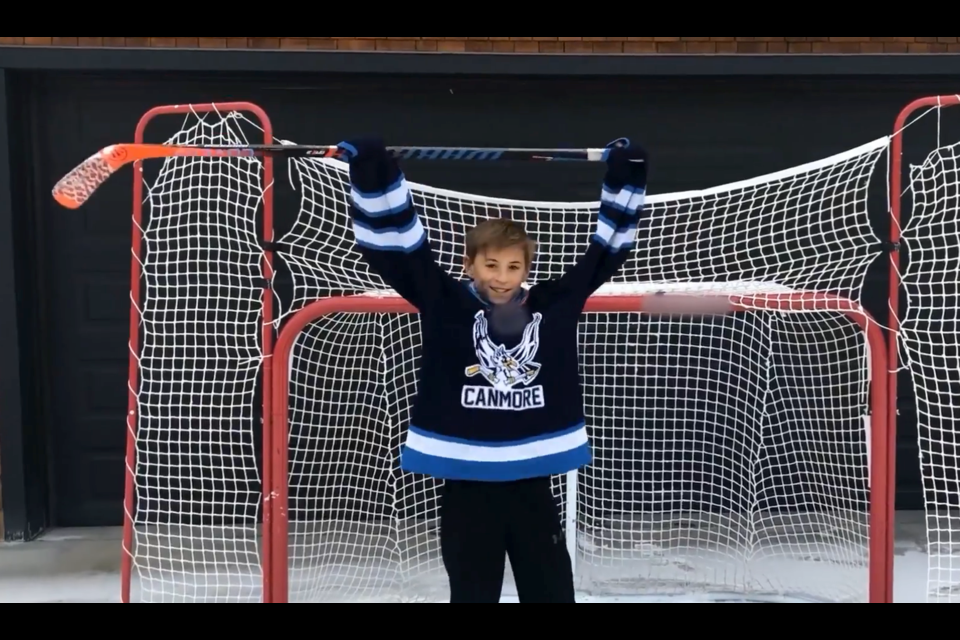 Jackson Froese of the U13 Canmore Eagles during a clip in their Good Deeds Cup video. SCREENSHOT