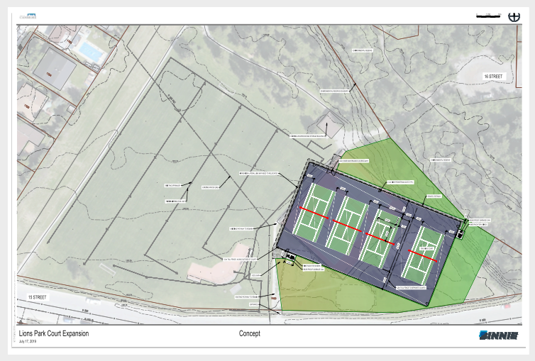 The proposed tennis court expansion at Lions Park in Canmore.