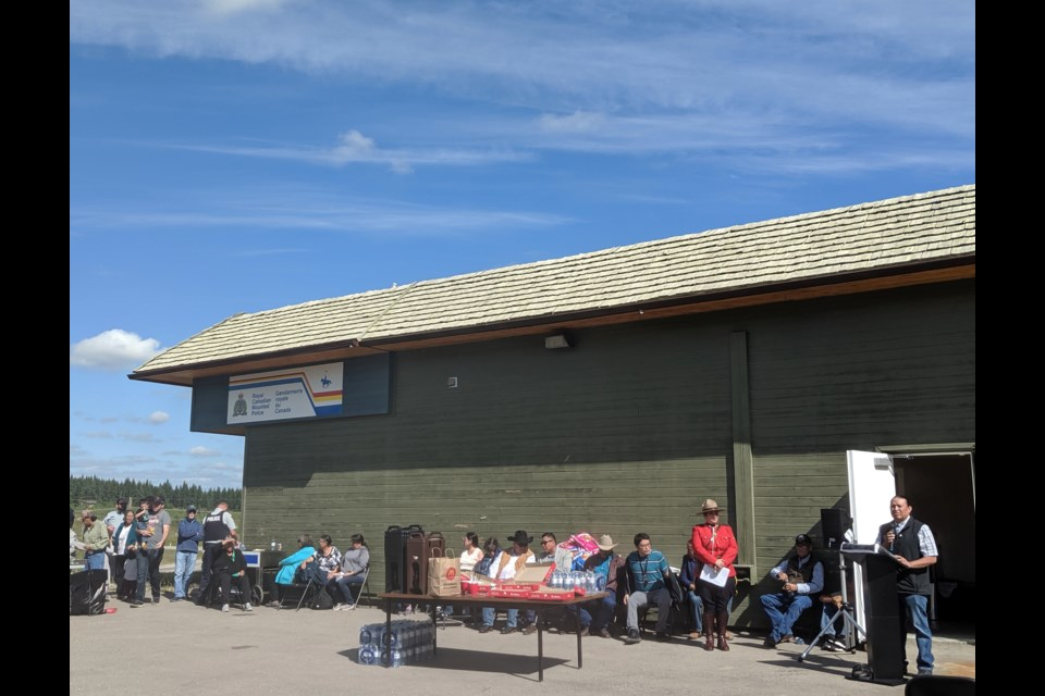 Stoney Nakoda celebrates the opening of the new RCMP satellite location on Aug. 29.