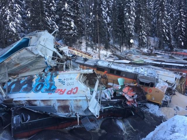 A train derailment near Field B.C. in February 2019 that killed three CP Rail workers on board. RMO FILE PHOTO