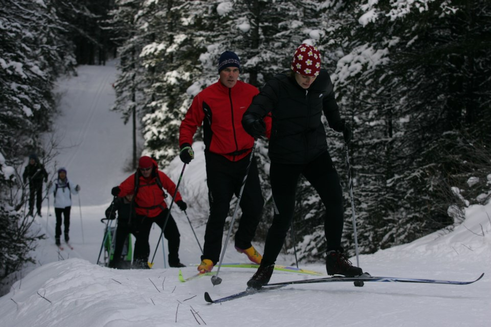 Cross-country skiers glide on a groomed trail in Peter Lougheed Provincial Park in Kananaskis Country. RMO FILE PHOTO