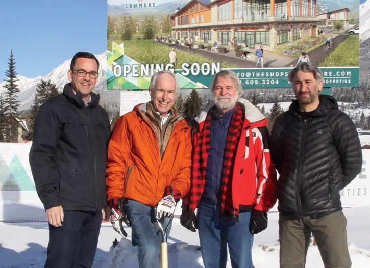 MP Blake Richards, left, Neil Tanner, Mayor John Borrowman and Michael Fark at the official ground breaking for The Shops of Canmore.