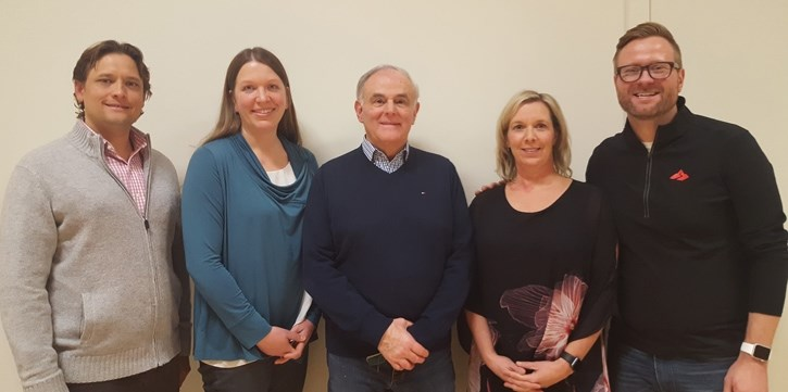 The Bow Valley Chamber of Commerce elected a new board on Feb. 15. From left right right, Peter Pilarski, (treasurer) Janet Nystedt, (president), Brian McClure (former
