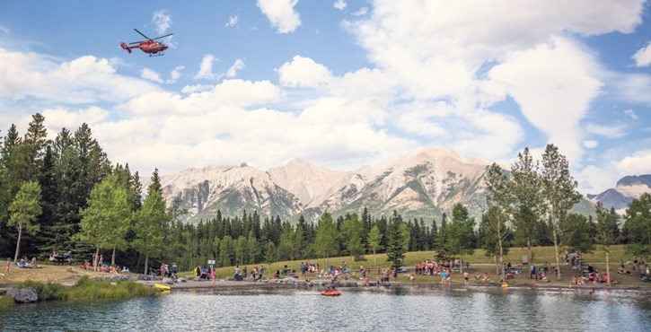 STARS air ambulance responds to the drowing of a visitor to Quarry Lake in Canmore in July of 2017.