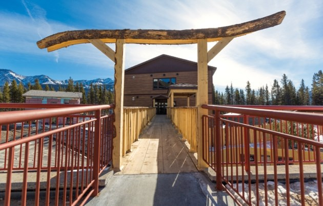 The entrance to the new Nordic Spa in at the Kananaskis Mountain Lodge in Kananaskis Village on Tuesday (March 13). The bridge leading to the spa and fence surrounding the