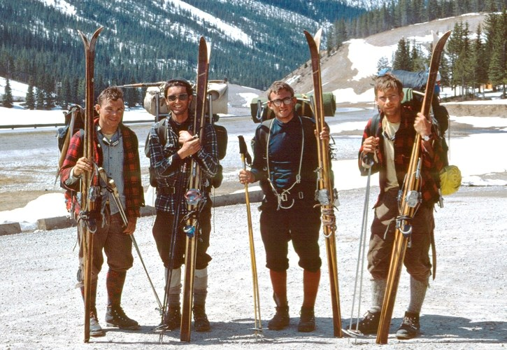 Chic Scott and his friends Charlie, Don and Neil before the 1967 Great Divide ski traverse.