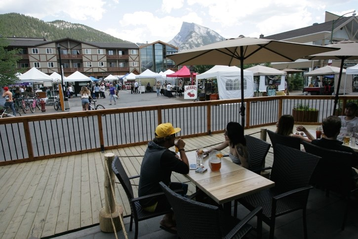 The Bear Street woonerf and farmers market during the summer. Banff council has approved creating a permanent design for the pedestrian oriented streetscape and is