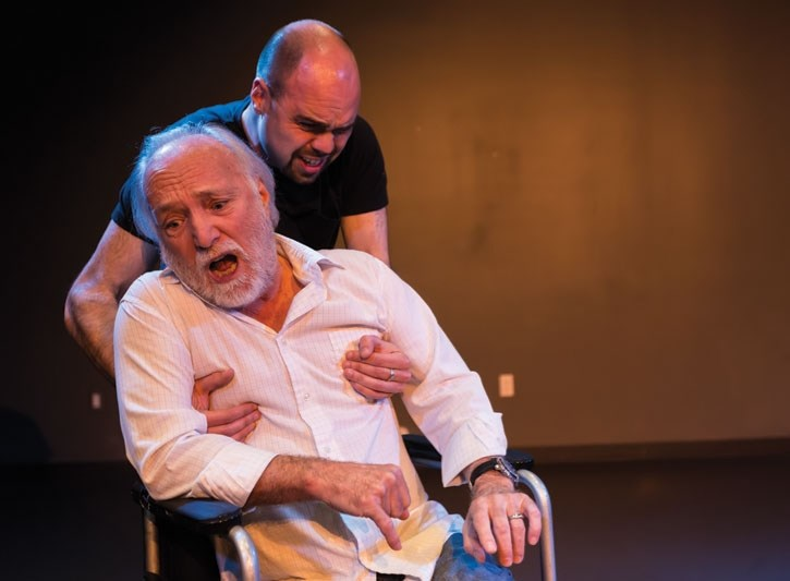 Richard Michelle-Pentelbury, left, and Rob Murray act out a scene from Tuesdays With Morrie at artsPlace in Canmore on Friday (May 4). The upcoming play features