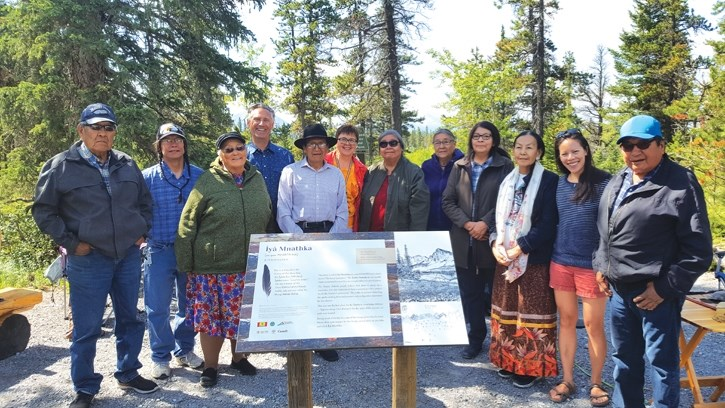 Elders from Stoney Nakoda First Nation were on hand for the unveiling of a plaque at the base of Îyâ Mnathka also know as Mount Yamnuska on Friday (June 8). The plaque is one
