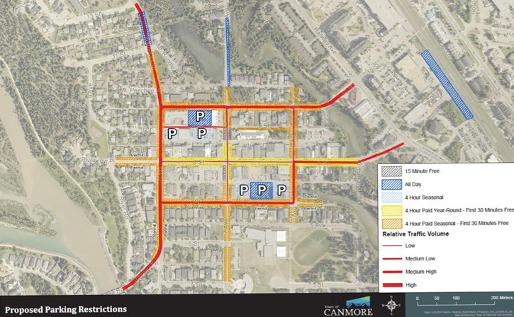 Proposed locations for paid parking in Canmore.