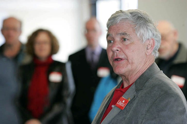 Liberal candidate John Reilly addresses supporters at Friday afternoon's (April 8) campaign launch in Canmore.