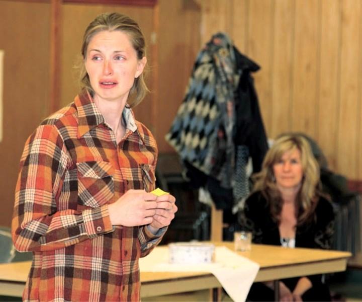 Kim Macklin, left, and Jane MacDonald share a sad moment during a rehearsal of Marion Bridge.
