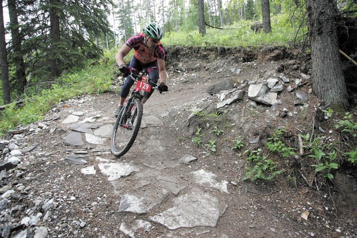 Gabor Csonka races to victory in the 100-km mountain bike race during Rundle's Revenge at the Canmore Nordic Centre Saturday (June 25).