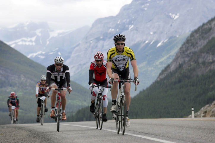Rundle Mountain Cycling Club rider Matt Jeffries sails away out front during a blustery Gran Fondo, which travelled from Longview to the Stoney Nakoda Casino Saturday (July