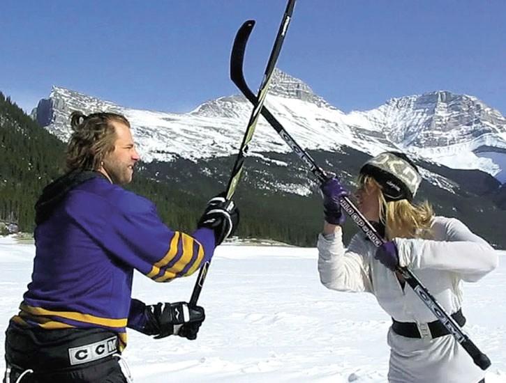 A still from the locally-made film Canadian Ice Hockey Ninja.
