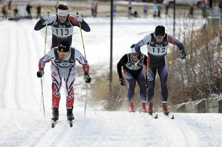 Jesse Cockney (L) leads Alberta World Cup Academy teammates Pate Neumann, Joey Burton and Bob Thompson in the quarter-finals of Thursday's (Oct. 27) cross-country sprint race