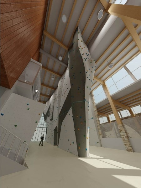 Artist's rendering of the Elevation Place climbing wall.