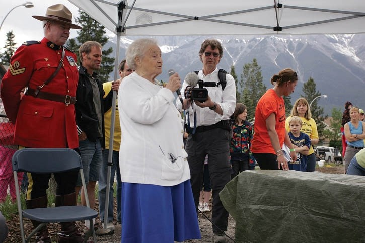 May Riva, who passed away on Sunday (June 10) shares her thoughts during the unveiling of the 2010 May Riva Community Park in Canmore.