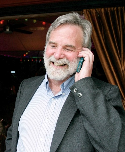 John Borrowman celebrates victory in Canmore's mayor race Tuesday night (June 19) after claiming almost half the vote.