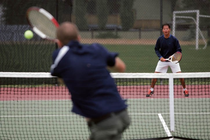 Willie Jung (R) and Colin Mckinlay go head-to-head at Saturday's (July 19) Canmore Tennis Cup at Lion's Park.