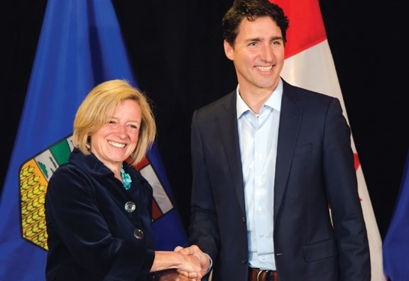 Alberta Premier Rachel Notley and Prime Minister Justin Trudeau in Kananaskis Country on Sunday night (April 24).