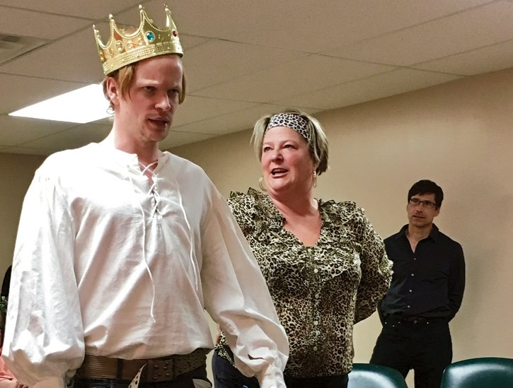 Jonathan Simpson as Claudius and Marilu Adams as Ruby during a dress rehearsal for Ruby of Elsinore, one of four one-act-plays to be staged Feb. 22-26 at the Canmore Miners'