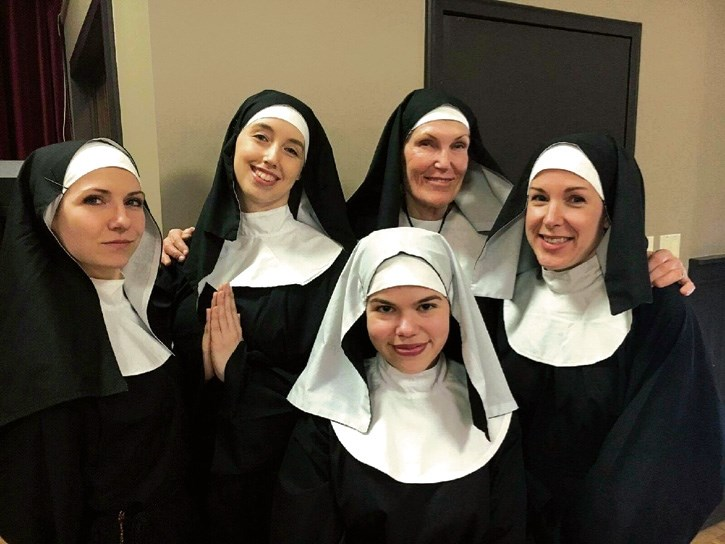 The Little Sisters of Hoboken, from left, Candise McMullin, Jessica Summers, Emma Schneider, Deb Nettesheim and Erin Walsh in habit and ready for the Canmore Miners' Union