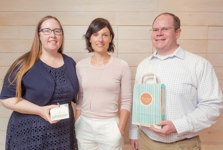 Alberta's labour minister Christina Gray, and Banff-Cochrane MLA Cam Westhead visit the Rocky Mountain Soap Company's HQ with owner Karina Birch in Canmore on Thursday (July