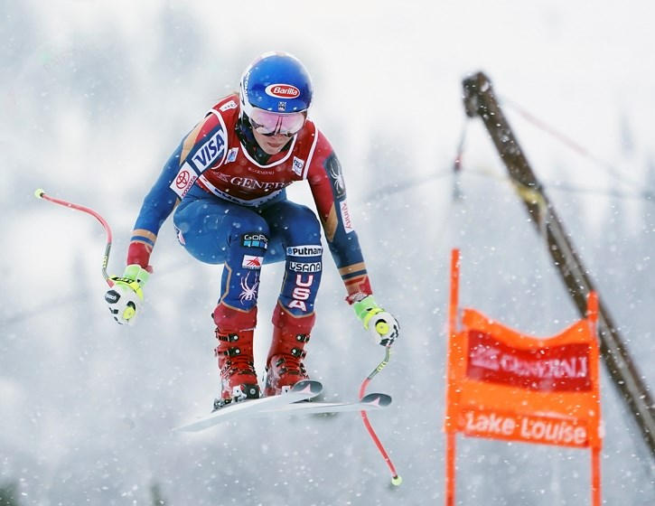American Mikaela Shiffrin catches air en route to the first world cup downhill race of her career, Dec. 2 at Lake Louise.