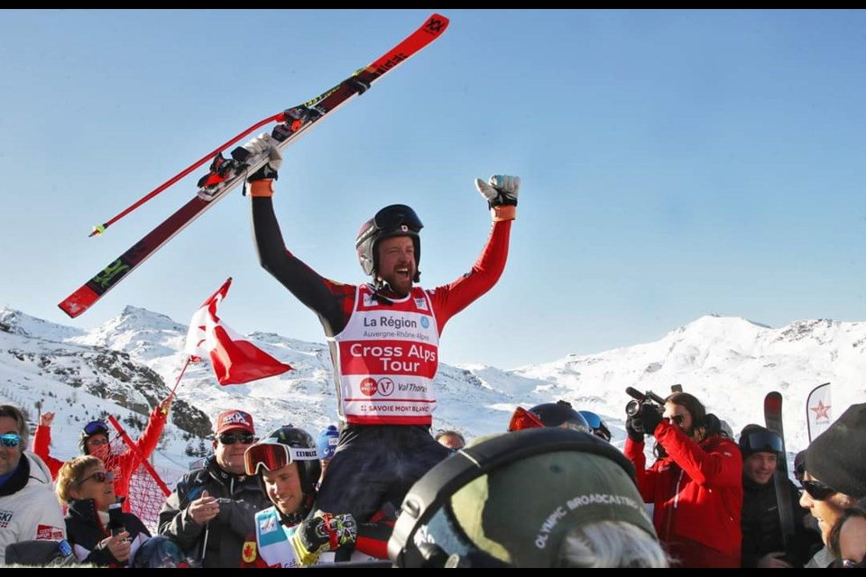Canmore's Kris Mahler is hoisted into the air by teammates after racing to his first ski cross world cup victory in Val Thorens, France last December. MATTHIAS HAUER GEPA PICTURES