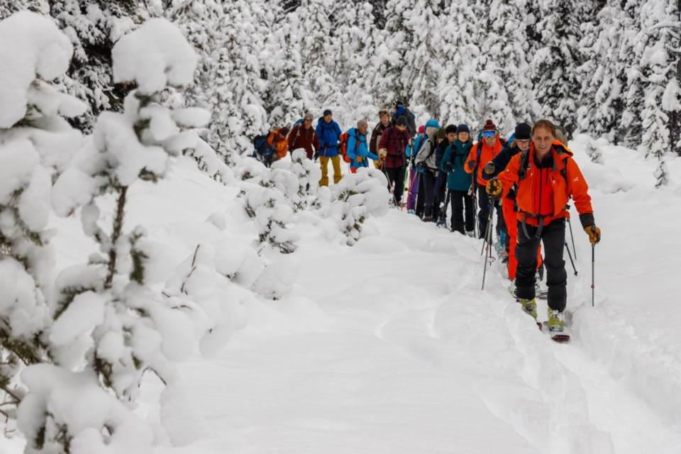 Avalanche Skills Training One course instructor Doug Latimer leads students on an excursion in the back country of Peter Lougheed Provincial Park on Sunday, Dec. 22, 2019. CHELSEA KEMP RMO PHOTO