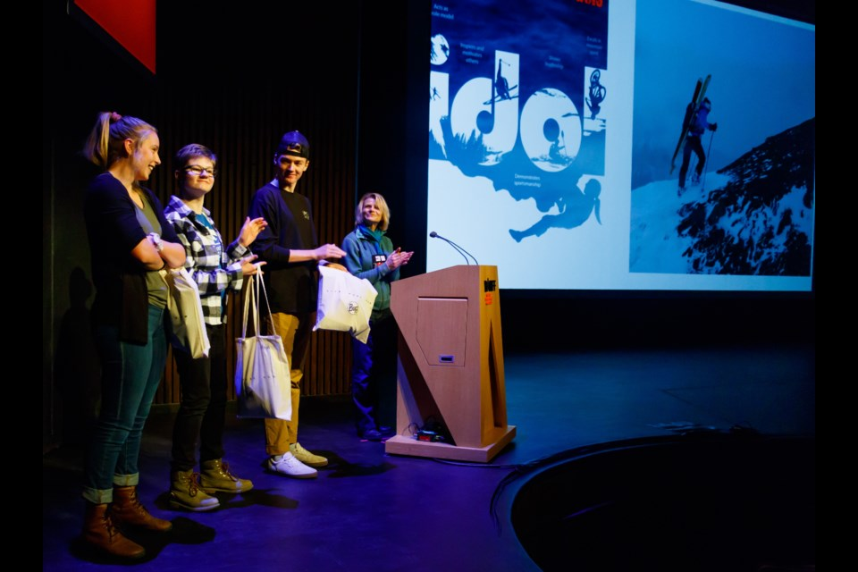 Banff Centre Mountain Film and Book Festival Mountain Idol finalists Jaiden Webster, left, Anya Morgan and Jack Menzies are honoured at the Radical Reels show in 2019. RMO FILE PHOTO